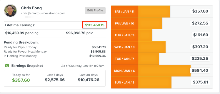 My ClickFunnels affiliate earnings