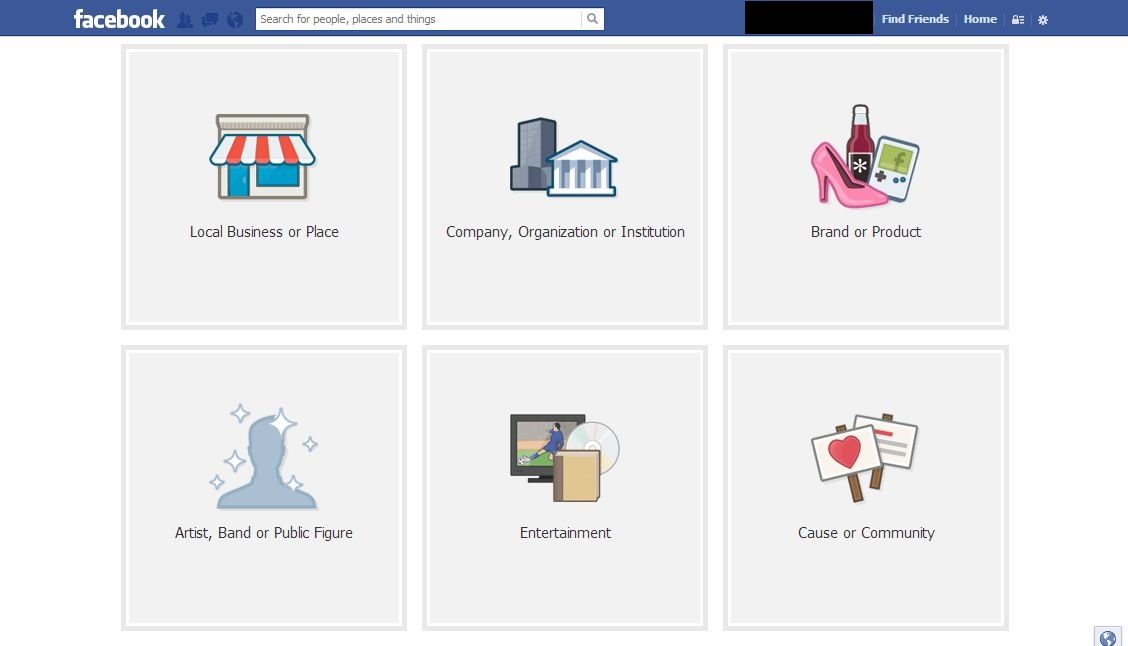 facebook fan page options for fan page categories and sub-categories