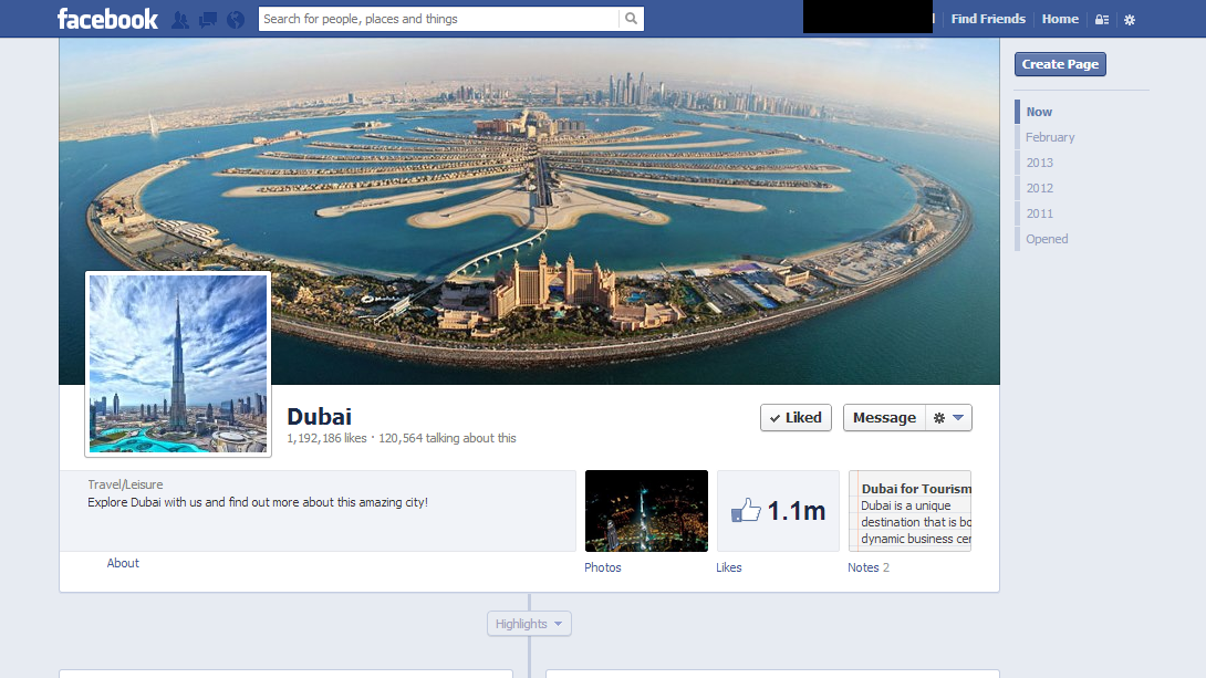 Dubai's facebook fan page, an excellent example of a well-designed facebook page