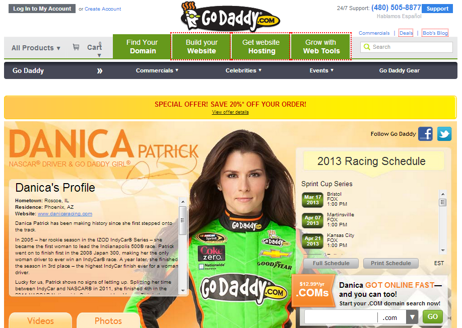 godaddy celebrity endorsement danica patrick call to action