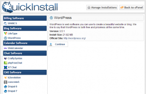 quick install wordpress through host gator control panle