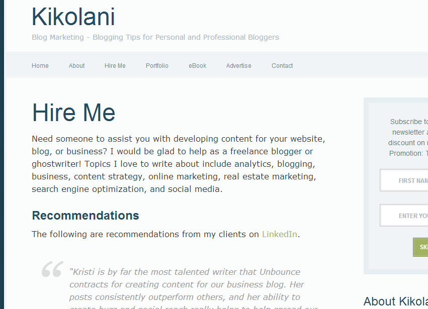 offering services on blog example 1