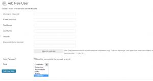 wordpress add a new user user settings control panel