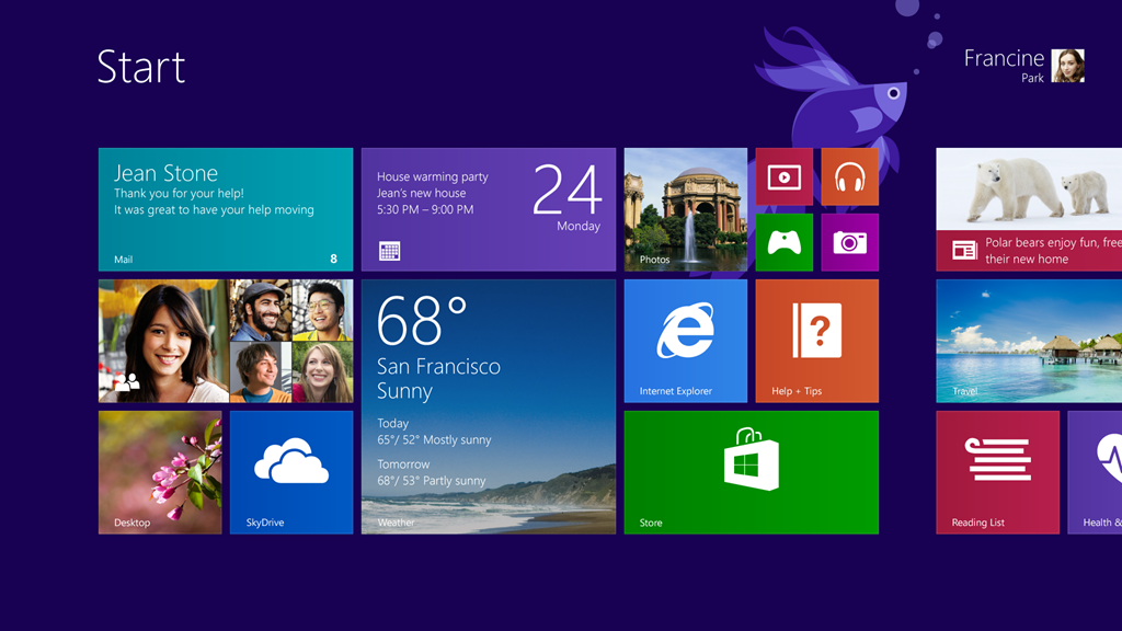 windows 8.1 blue start menu