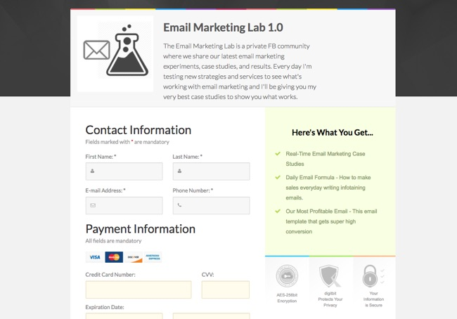 Landing Page Software Samcart Box Size