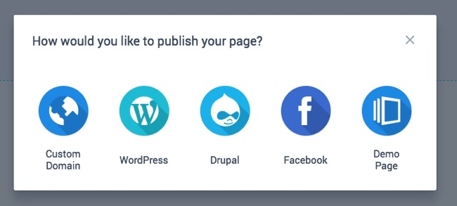 Instapage Publishing Options