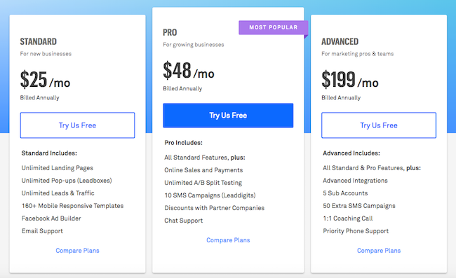 LeadPages Pricing Table