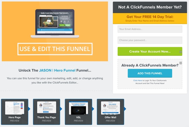 ClickFunnels review - Share Funnel Page