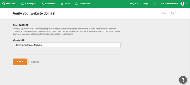 MailerLIte Domain Verification