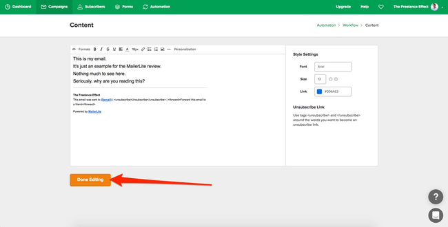 MailerLite Automation Email Editing Part 3