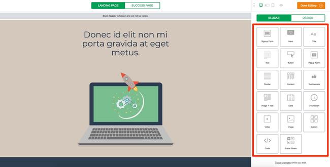 MailerLite Landing Page Editor