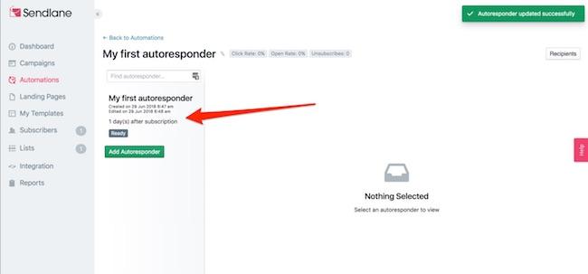 SendLane autoresponder builder