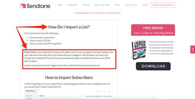 SendLane Import List