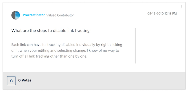 Constant Contact disable link tracking