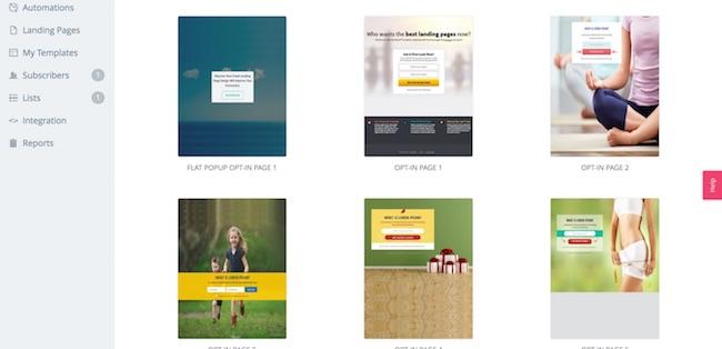 SendLane landing page templates