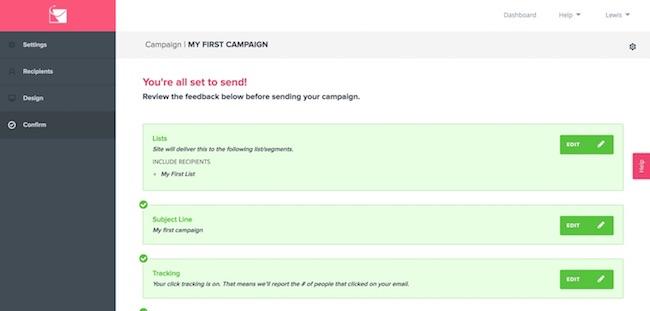 SendLane campaign confirmation page