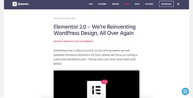 Elementor theme builder announcement