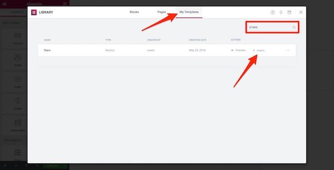 Elementor UX - Adding template