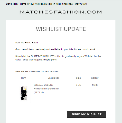 stock update notification matchesfashion