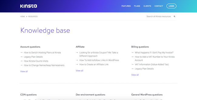 Kinsta knowledge base