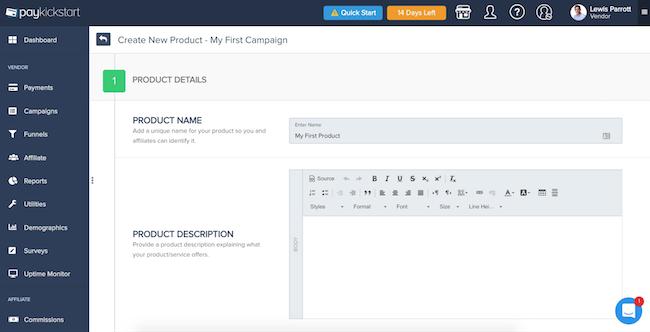PayKickStart product creation
