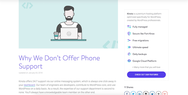 Kinsta phone support