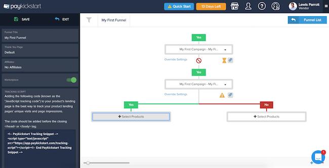 PayKickStart visual funnel builder