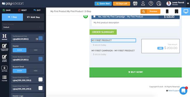 PayKickStart checkout page editor