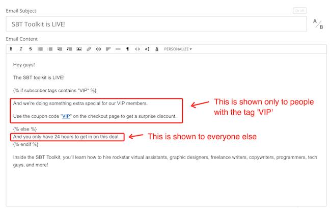 ConvertKit In-Email Segmentation