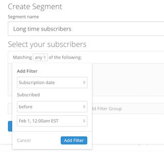ConvertKit segment options