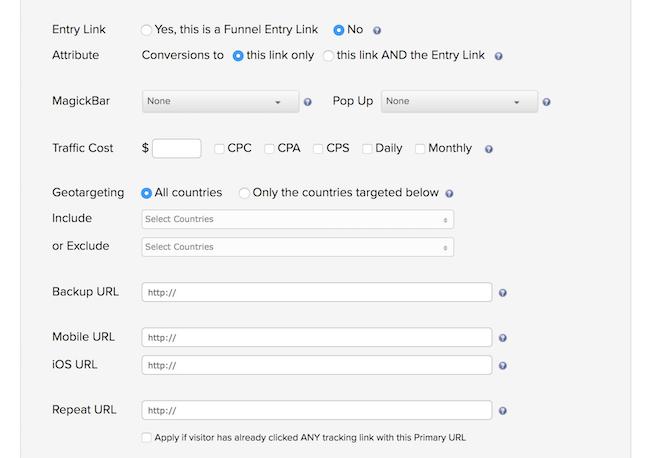 ClickMagick link tracking options
