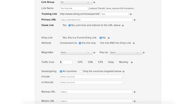 ClickMagick link advanced settings