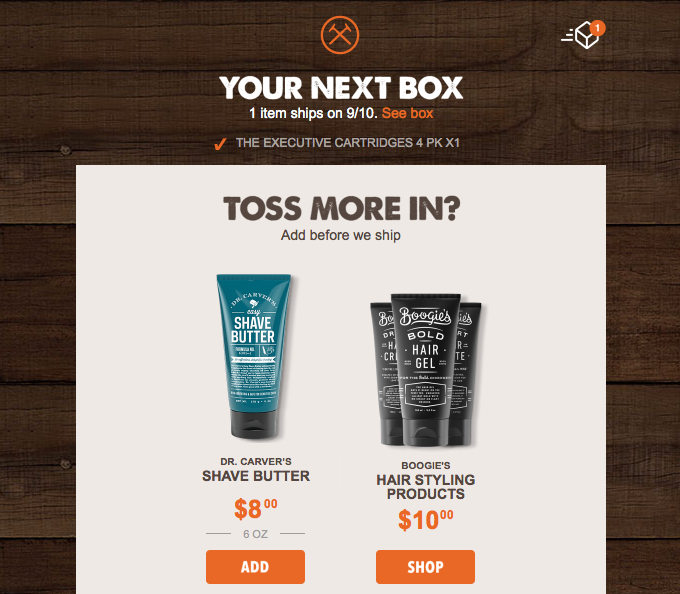 upsell email dollar shave club