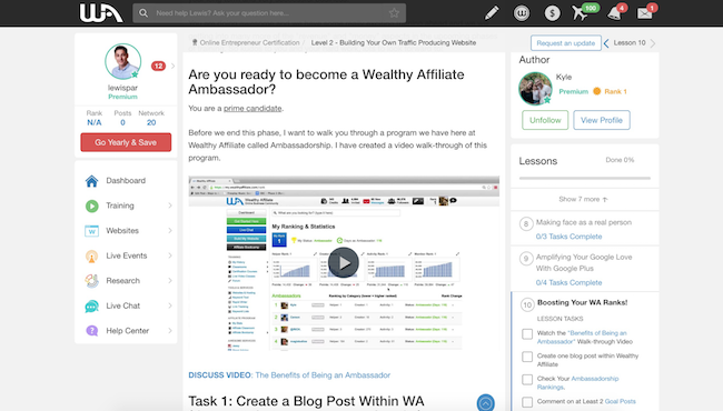 Wealthy Affiliate Lessons Area