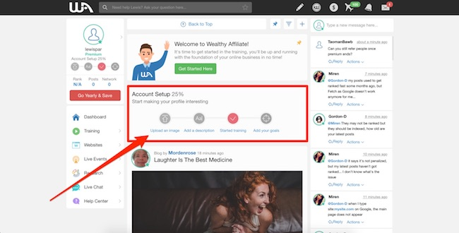 Wealthy Affiliate Account Setup Prompts