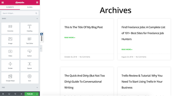 Elementor - archive example