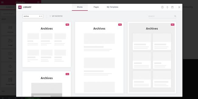Elementor - archive blocks