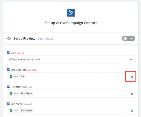 Zapier ActiveCampaign Setup Contact