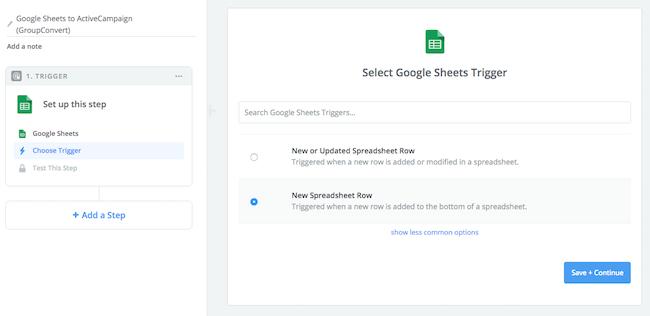 Zapier Google Sheets Trigger