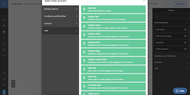 ActiveCampaign CRM options