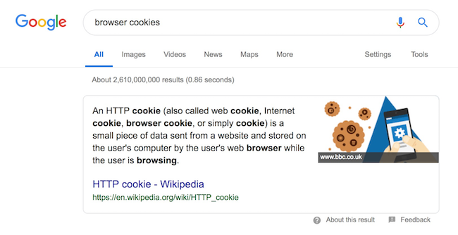 browser cookies definition