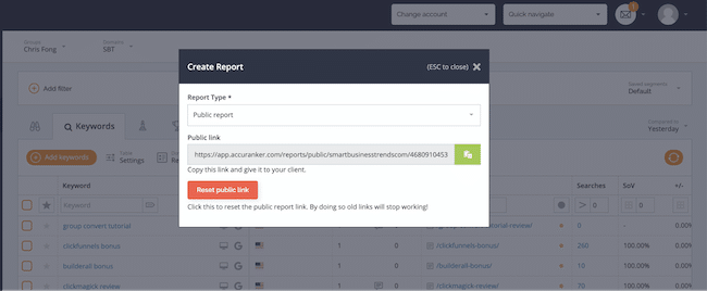 generate a report link