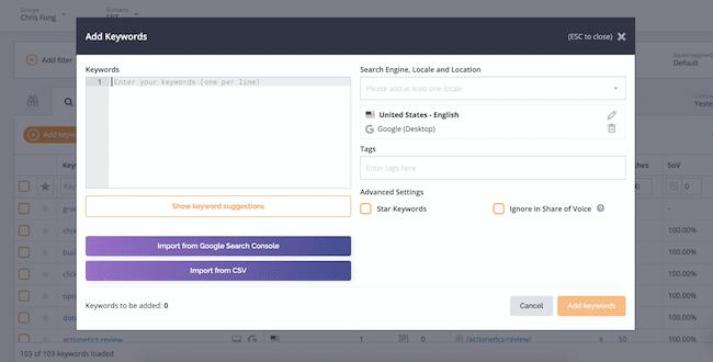 Adding & Managing Keywords