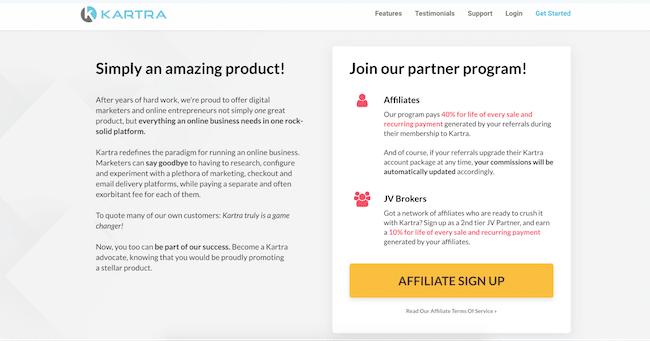 Generous affiliate program on Kartra