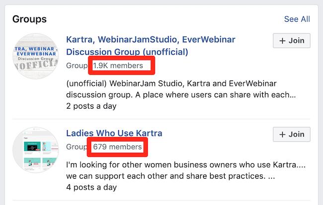 Kartra-focused groups