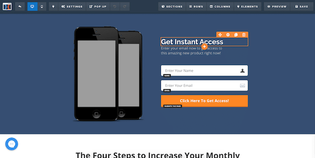 The page editor on ClickFunnels