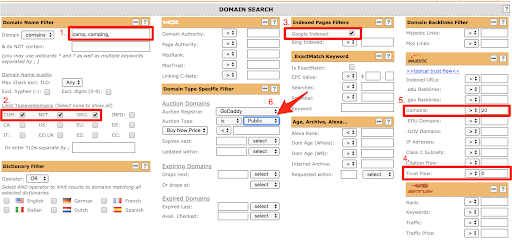 Register Compass auction domain search - keyword in domain