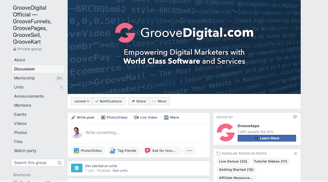 Groove Funnels Facebook group