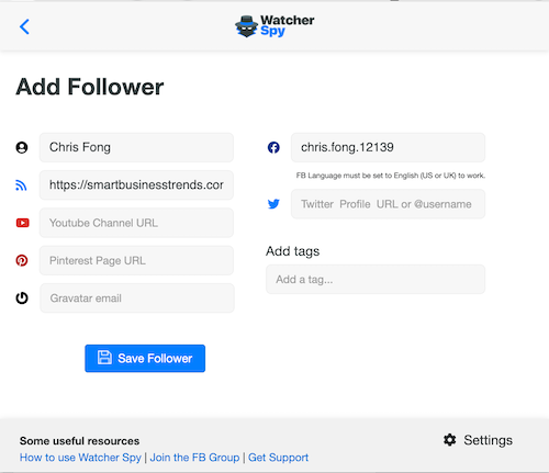 WatcherSpy - Add Followers