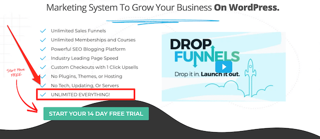 Unlimited everything in DropFunnels
